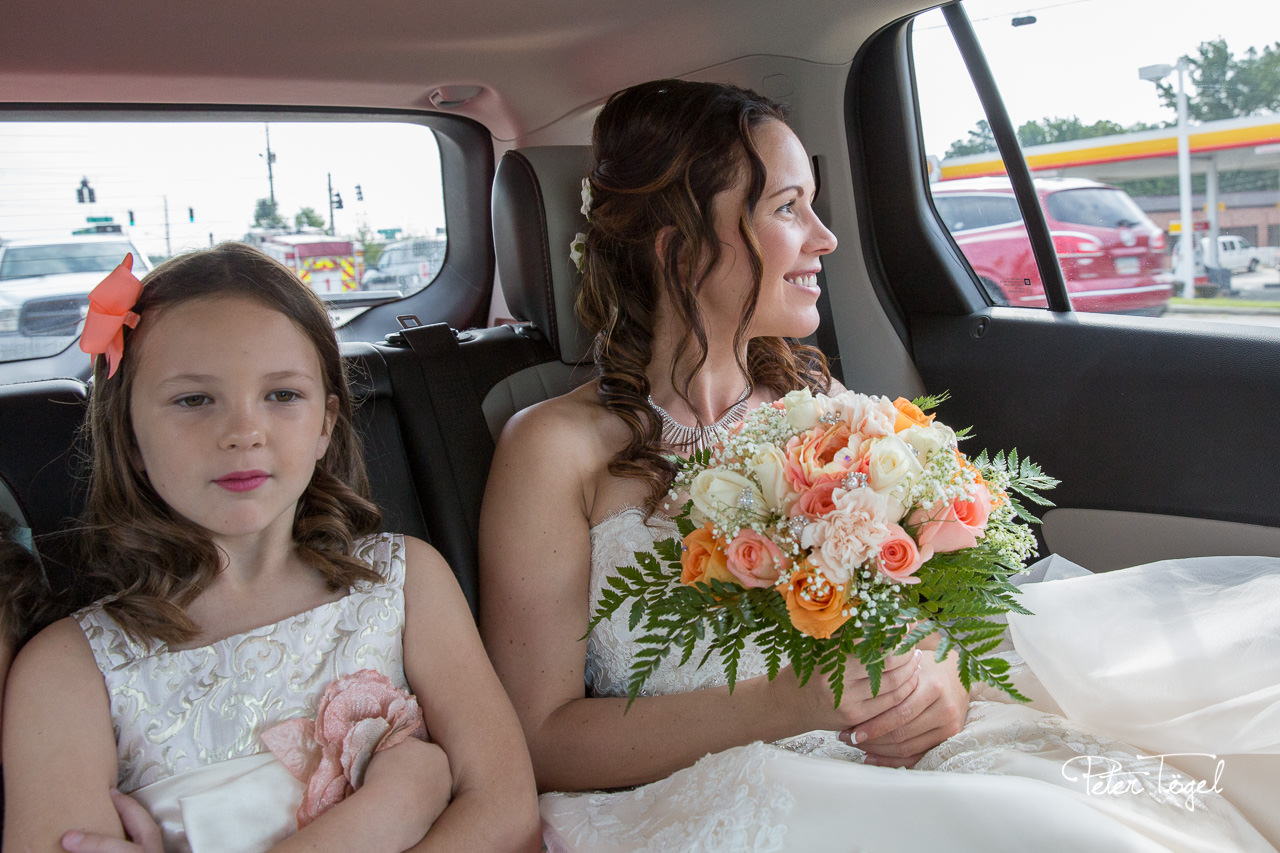 Bride and girls leave for venue